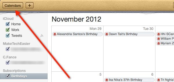 Display your calendars in iCal.