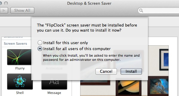 Install the FlipClock screen saver for all users or just yourself.