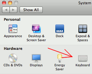 System Preferences - Select Keyboard
