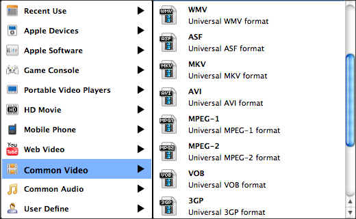 convert VOB to AVI select output formats