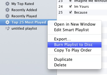 burning list in itunes