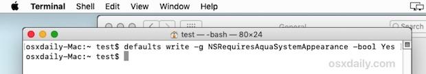 Esegui il comando del terminale per regolare il comportamento in modalità oscura per influire sulla barra dei menu e sul dock solo &quot;width =&quot; 610 &quot;height =&quot; 107 &quot;class =&quot; aligncenter size-large wp-image-78729 &quot;/&gt; </p> <li> Apri il menu  Apple e seleziona &quot;Disconnetti&quot;, quindi, dopo aver effettuato il logout, accedi nuovamente allo stesso account utente </li> <li> Torna al menu  Apple e seleziona &quot;Preferenze di Sistema&quot; e torna al pannello delle preferenze &quot;Generale&quot; </li> <li> Nella sezione &quot;Aspetto&quot;, scegli &quot;Scuro&quot; per cambiare solo la barra dei menu e il Dock in modo da renderli scuri </li> <p> <img src=