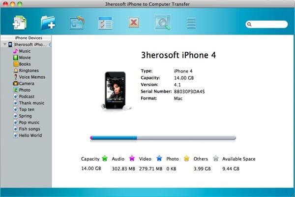3herosoft iPhone to Computer Transfer for Mac screenshot