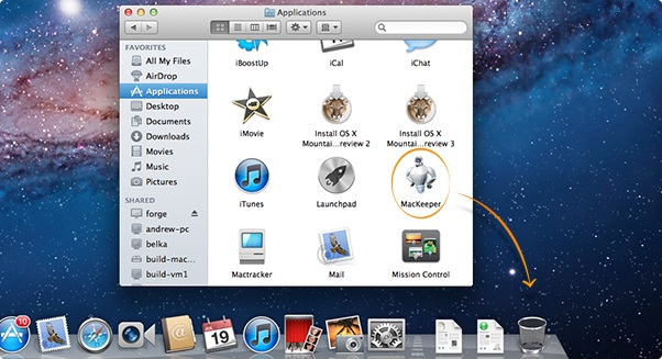 Drag the MacKeeper icon to the Trash.