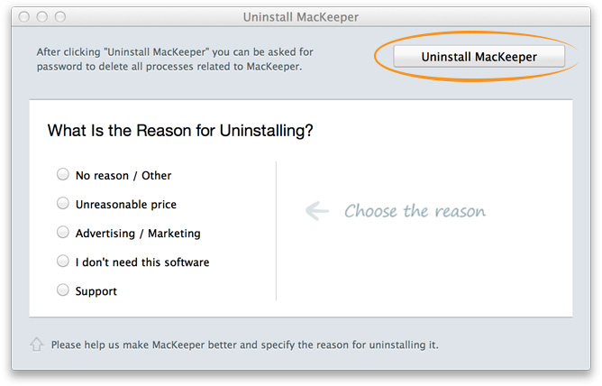 Click Uninstall MacKeeper.