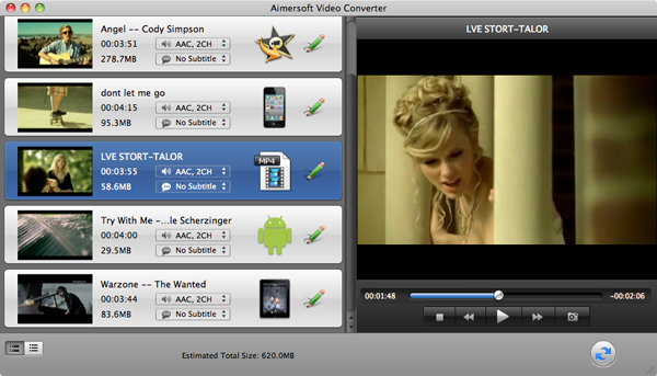 convert VOB to AVI with Daniusoft VOB to AVI converter for Mac - screen