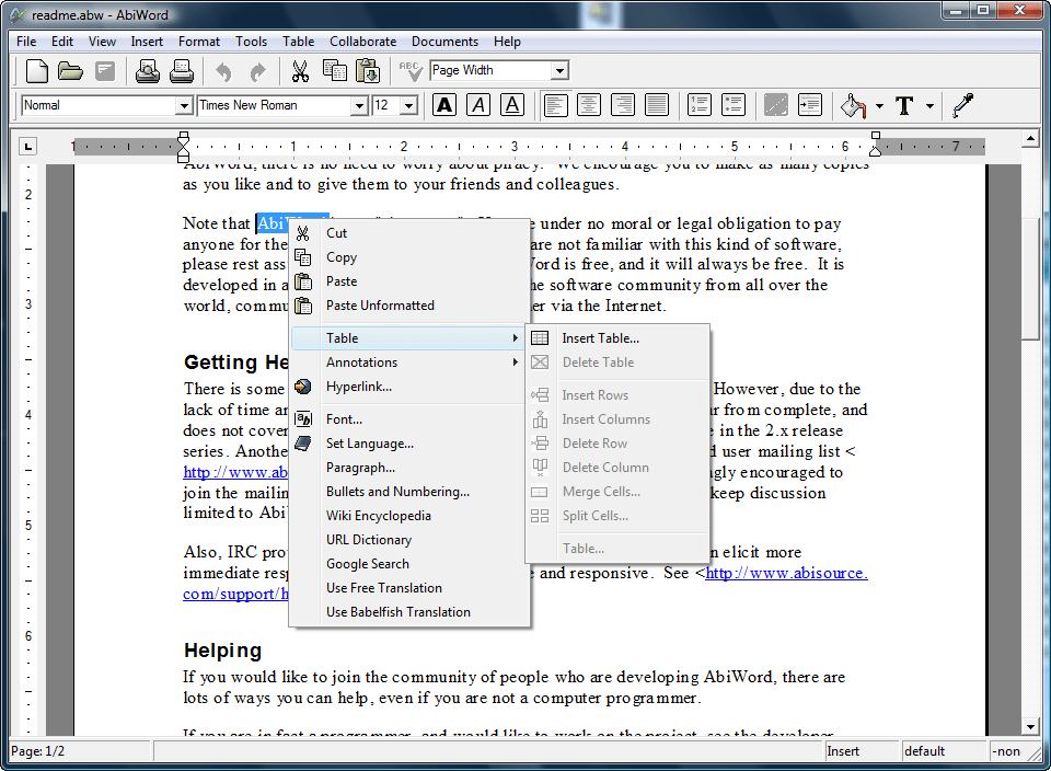 Abiword processore 2019-software di elaborazione testi per Microsoft download