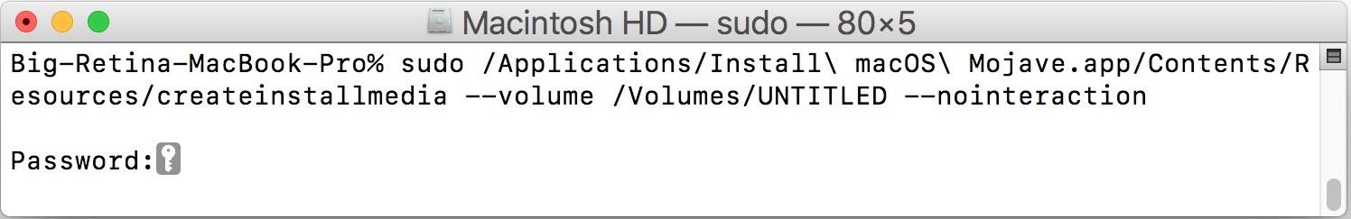 """Sintassi del comando per creare l'unità di installazione boot di macOS Mojave """"width ="""" 610 """"height ="""" 99 """"class ="""" aligncenter size-large wp-image-78215 """"/> </p> </ol> <p> La creazione dell'unità di avvio di macOS Mojave può richiedere un po 'di tempo, ma la finestra di Terminale aggiornerà lo stato mentre passa attraverso la cancellazione dell'unità flash USB, quindi copia i file sull'unità flash e rende il disco avviabile. segnala quando il supporto di installazione è completato e dove si trova con un nome di volume. </p> <blockquote> <p> """"Cancellazione disco: 0% … 10% … 20% … 30% … 100% … </p> <p> Copia su disco: 0% … 10% … 20% … 30% … 40% … 50% … 60% … 70% … 80% … 90% … 100% … </p> <p> Rendere avviabile il disco … </p> <p> Installa il supporto ora disponibile su """"/ Volumi / Installa MacOS Mojave"""" </p> </blockquote> <p> Una volta visualizzato il messaggio """"Installa supporto ora disponibile in"""" / Volumi / Installa MacOS Mojave """""""" (e senti la conferma verbale) il disco di installazione di avvio di macOS Mojave è completo ed è pronto per l'uso. </p> <p> Puoi usare l'installer MacOS Mojave appena creato per aggiornare qualsiasi Mac compatibile su macOS Mojave, per eseguire installazioni pulite, formattare dischi e molto altro. </p> <h3> Come eseguire l'avvio dall'unità USB di installazione Mojave di MacOS </h3> <p> Ora che l'unità di installazione di macOS Mojave è completa, puoi eseguire l'avvio da esso con qualsiasi Mac compatibile. </p> <ul> <li> Collega l'unità USB dell'installer MacOS Mojave al Mac da cui vuoi avviarla da </li> <li> Riavvia (o avvia) il Mac e tieni immediatamente premuto il tasto OPTION sulla tastiera </li> <li> Nella schermata del selettore di avvio, scegli """"Installa macOS Mojave"""" dalle opzioni di avvio </li> </ul> <p> Una volta avviato dall'unità di installazione di macOS Mojave, vedrai la familiare schermata di macOS Utilities da cui puoi avviare il processo di installazione o aggiornamento di macOS Mojave, utilizzare Utility Disco, accedere"""