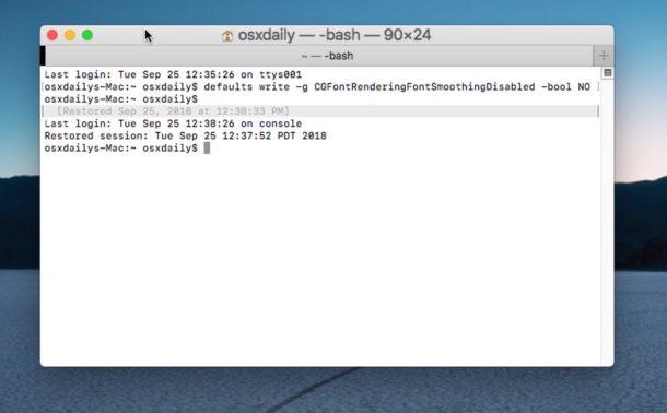 """Come regolare le impostazioni di smoothing dei caratteri in macOS Mojave """"width ="""" 610 """"height ="""" 378 """"class ="""" aligncenter size-large wp-image-78195 """"/> </p> <p> Pensi che i caratteri e il testo dello schermo appaiano sfocati, sfocati o eccessivamente sottili in macOS Mojave? In tal caso, potrebbe essere dovuto a cambiamenti nell'anti-aliasing in Mojave, in particolare per gli utenti con display senza retina. Se stai usando macOS Mojave su un Mac senza display retina, o con un monitor esterno che non ha uno schermo ad altissima risoluzione, potresti aver notato che alcuni caratteri e testo possono apparire sfocati, sfocati o eccessivamente sottili e difficile da leggere. Fortunatamente, con un piccolo sforzo è possibile apportare alcune modifiche al modo in cui MacOS Mojave gestisce l'arrotondamento dei font e l'anti-aliasing che può migliorare l'aspetto del testo e dei caratteri sullo schermo del Mac. </p> <p><!-- Quick Adsense WordPress Plugin: http://quickadsense.com/ --></p> <p> Ti mostreremo alcuni suggerimenti su come regolare l'arrotondamento dei caratteri in MacOS per tentare di rimediare a qualsiasi rendering di font problematico o testo sfocato in macOS Mojave per schermi non retina. </p> <p> <span id="""