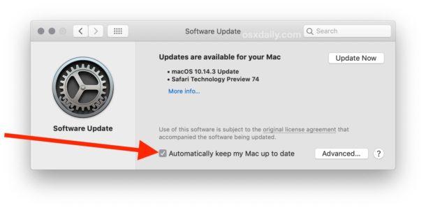 Come abilitare gli aggiornamenti automatici MacOS &quot;width =&quot; 610 &quot;height =&quot; 301 &quot;class =&quot; aligncenter size-large wp-image-81787 &quot;/&gt; </p> <li> Per aggiornare solo automaticamente gli aggiornamenti MacOS al software di sistema e agli aggiornamenti di sicurezza, fare clic sul pulsante &quot;Avanzate&quot;, quindi selezionare le caselle &quot;Verifica aggiornamenti&quot;, &quot;Scarica nuovi aggiornamenti quando disponibili&quot;, &quot;Installa aggiornamenti macOS&quot; e &quot; Installa i file di dati di sistema e gli aggiornamenti di sicurezza &quot;* </li> <p> <img src=