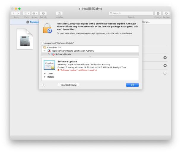 """Certificato scaduto per l'applicazione di installazione MacOS Mojave """"width ="""" 610 """"height ="""" 516 """"class ="""" aligncenter size-large wp-image-91223 """"/> </noscript></p> <p>Problemi simili si sono verificati in passato con vari programmi di installazione di Mac OS. Oltre a scaricare nuovamente il programma di installazione, un'altra opzione che alcuni utenti hanno segnalato di funzionare e che aggira questo tipo di messaggi di errore per gli installatori (e talvolta anche le app) sta riportando l'orologio dei Mac indietro nel tempo (in questo caso, prima di ottobre 2019 quando il certificato è scaduto rendendo inutilizzabile l'applicazione di installazione), ma a quanto pare non funziona sempre con l'app Installa MacOS Mojave. Inoltre, non è sempre una soluzione pratica per regolare gli orologi, in particolare se prevedi di implementare, utilizzare e archiviare ampiamente le app di installazione per varie versioni di MacOS e su hardware diverso. Invece, scarica nuovamente le nuove versioni di """"Installa macOS.app"""" che ti occorrono e mantieni quelle in giro.</p> <p>A molti utenti Mac piace mantenere un repository di pacchetti di installazione MacOS per le versioni precedenti del software di sistema. Ad esempio, ho una raccolta di programmi di installazione di MacOS inclusi Mac OS X Snow Leopard, Mac OS X Mavericks, MacOS High Sierra, macOS Sierra, macOS Mojave e MacOS Catalina. Questi possono essere utilizzati per creare installer di avvio USB, ripristinare sistemi, risolvere i problemi, eseguire installazioni pulite delle varie versioni del software di sistema, eseguire aggiornamenti a versioni specifiche del software di sistema e servire a molti altri scopi. Se disponi di un archivio di programmi di installazione simile, è probabilmente un buon momento per sostituire tali programmi di installazione con le nuove versioni che non scadono.</p> <p>Hai riscontrato il messaggio di errore """"L'applicazione è danneggiata e non può essere utilizzata per installare macOS"""" e l'hai r"""