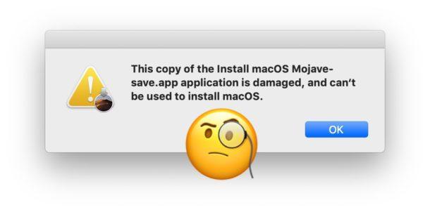 """Correggi copia di Installa MacOS danneggiata e non può essere utilizzata per installare macOS """"larghezza ="""" 610 """"altezza ="""" 302 """"class ="""" aligncenter size-large wp-image-91221 """"/> </noscript></p> <p>Se di recente hai tentato di utilizzare un'applicazione di installazione di MacOS, potresti scoprire un messaggio di errore che indica qualcosa del tipo <strong> <em> """"Questa copia dell'applicazione Installa macOS Mojave.app è danneggiata e non può essere utilizzata per installare macOS. """"</em> </strong> Ciò impedisce al programma di installazione di macOS di funzionare e di funzionare, e sostanzialmente rende inutili le applicazioni di installazione.</p> <p><!-- Quick Adsense WordPress Plugin: http://quickadsense.com/ --></p> <p>La causa di questo errore è un certificato scaduto e poiché il certificato è scaduto, l'app """"Installa macOS"""" per Mojave, Sierra e High Sierra non verrà eseguita. Fortunatamente, esiste una soluzione abbastanza semplice al problema dell'installer """"danneggiato"""".</p> <h2>Risoluzione dei messaggi di errore """"Installa l'applicazione MacOS danneggiata, non può essere utilizzata per installare MacOS"""" con gli installatori di sistemi Mac OS</h2> <p>Il modo più semplice per risolvere <em> """"Questa copia dell'applicazione Installa macOS .app è danneggiata e non può essere utilizzata per installare macOS."""" </em> è scaricare nuovamente il programma di installazione da Apple, che contiene un nuovo certificato nuovo che non è scaduto. I collegamenti sottostanti puntano alle risorse Apple in cui è possibile trovare o scaricare i programmi di installazione macOS aggiornati per Mojave, High Sierra e Sierra:</p> <p>Potrebbe essere necessario riavviare il Mac dopo aver scaricato la nuova applicazione di installazione (e certificato valido), in particolare se si era già avviata una versione che mostrava il messaggio di errore dell'applicazione danneggiata.</p> <p>Se non si scaricano nuove versioni di queste applicazioni di installazione macOS, è probabile che si verif"""