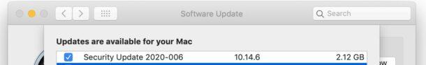 Aggiornamento di sicurezza 2020-006 per MacOS Mojave e ...